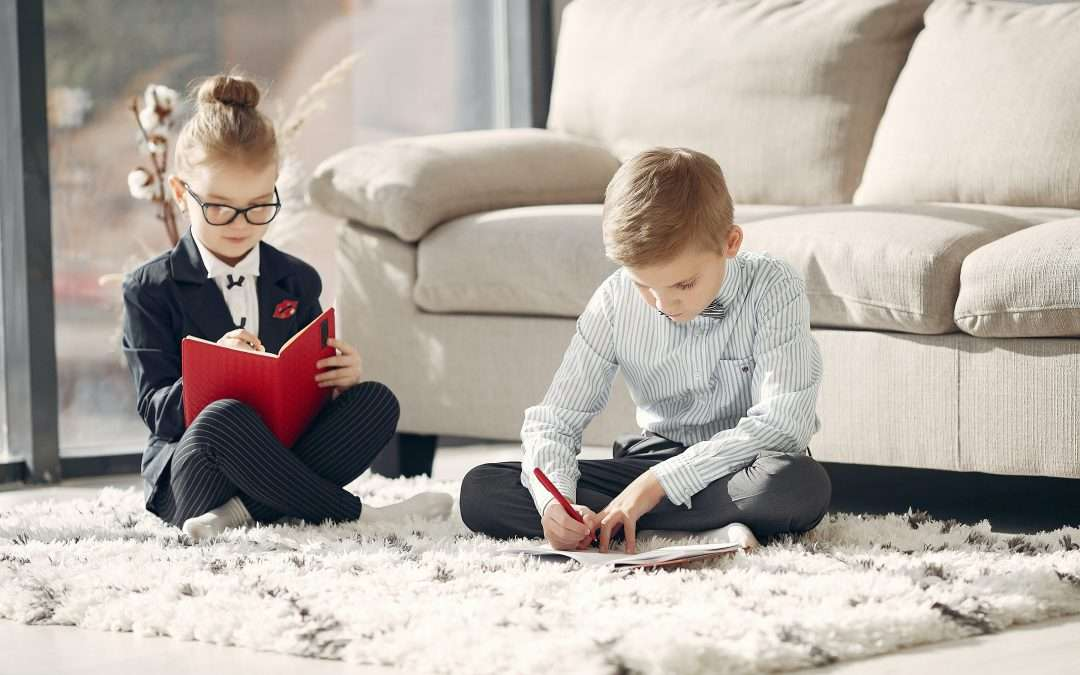 Children dressed like adults working in marketing